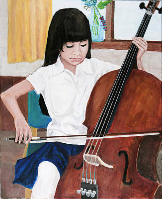Painting - Cello Practice by Charlie Harris
