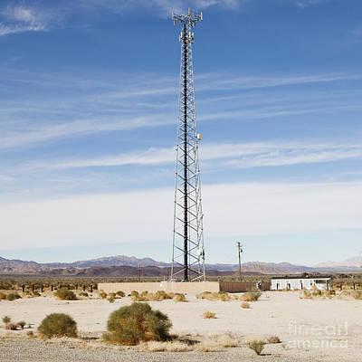 Cellular Phone Tower In Desert Print by Paul Edmondson
