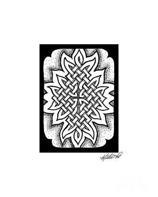 Drawing - Celtic Knotwork Afire by Kristen Fox