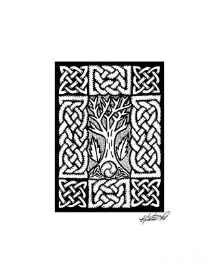 Drawing - Celtic Knotwork Bare Branches by Kristen Fox