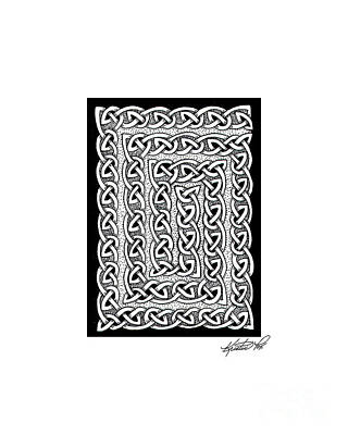Artist Trading Card Drawing - Celtic Knotwork Card Spiral by Kristen Fox
