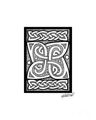 Drawing - Celtic Knotwork Cloverleaf by Kristen Fox