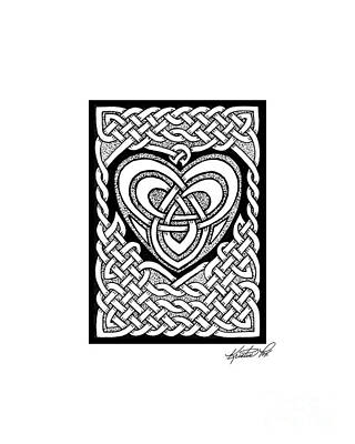 Drawing - Celtic Knotwork Heart by Kristen Fox