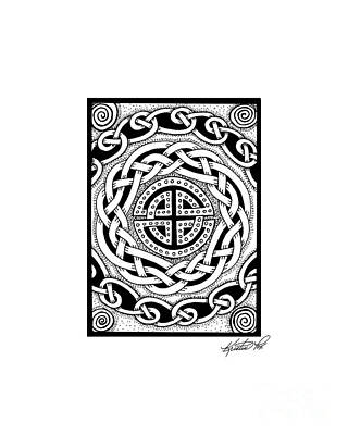 Drawing - Celtic Knotwork Rondelle by Kristen Fox