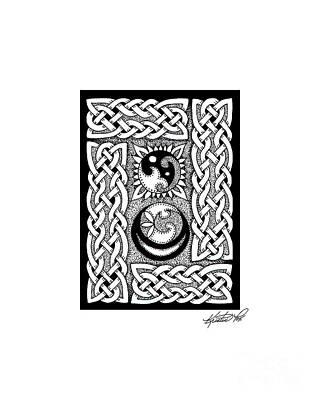 Drawing - Celtic Knotwork Sun Moon by Kristen Fox