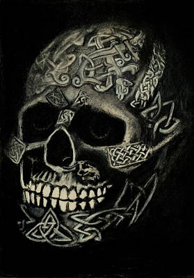 Drawing - Celtic Skull by Lynn Hughes