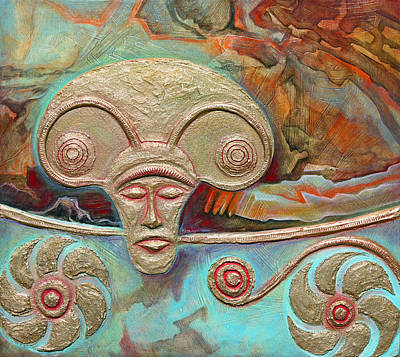 Celtic Warrior Ritual Mask Art Print by Zoran Peshich