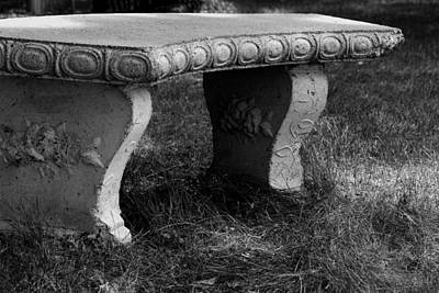 Photograph - Cement  Bench    B And W Version by William Meemken