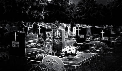 Cemetary At Night Art Print by Ellen Heaverlo