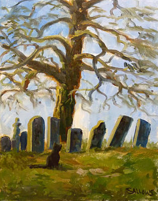 Cemetary Painting - Cemetery Road by Nora Sallows