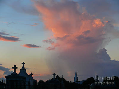 Art Print featuring the photograph Cemetery Skies by Jeanne  Woods