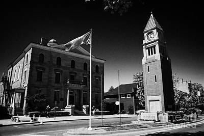 Cenotaph Clock Tower And Old Court House On Queen Street Niagara-on-the-lake Ontario Canada Art Print by Joe Fox