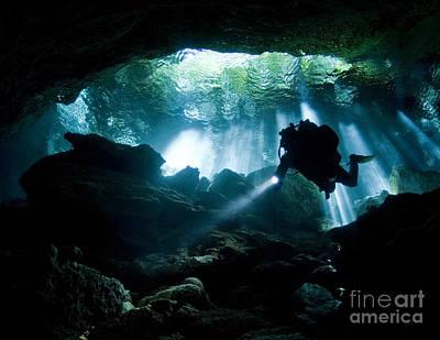 Cenote Diver Enters Taj Mahal Cavern Art Print by Karen Doody
