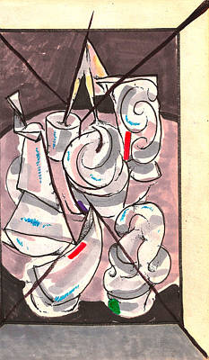 Blue And Gray Drawing - Center Ring Room by Al Goldfarb