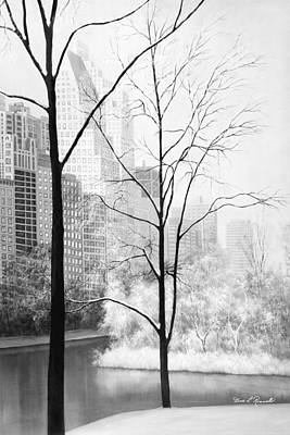 Central Park Painting - Central Park In Black And White by Diane Romanello