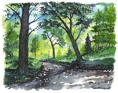 Patrick Painting - Central Park  New York by Patrick Grills