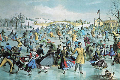 Central Park Skating Pond New York Print by Photo Researchers