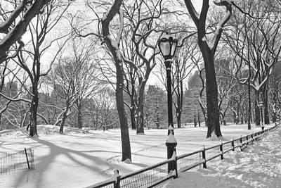 Central Park Snowfall Bw Art Print by Andrew Kazmierski