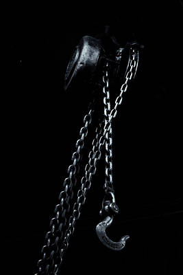 Print featuring the photograph Chain And Hook by Tom Singleton