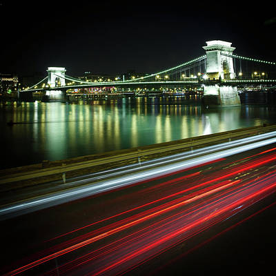 Chain Bridge At Night In Budapest Art Print by Mark Whitaker