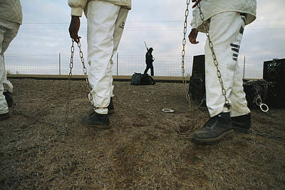 Chain Gang Prisoners Being Watched Art Print by Bill Curtsinger