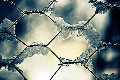 Ice Crystal Photograph - Chainlink Fence by Joana Kruse