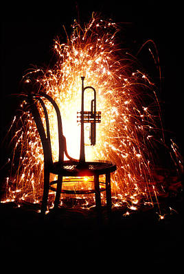 Chair And Horn With Fireworks Art Print by Garry Gay
