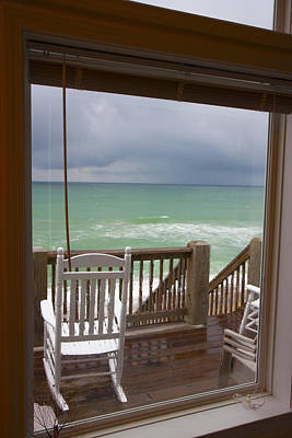 Topsail Island Photograph - Chair In The Storm by Betsy Knapp