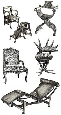 Lee-ann Drawing - Chair Poster Vertical  by Adendorff Design