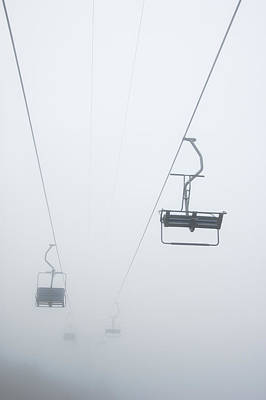 Chairlift In The Fog Art Print by Matthias Hauser