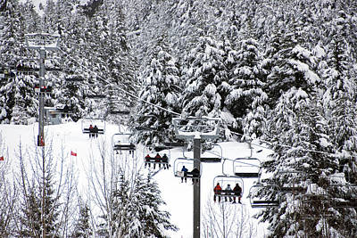 Chairlift In The Snow, Alyeska Ski Resort Art Print by Mark Newman