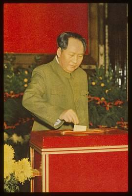 Mao Zedong Wall Art - Photograph - Chairman Mao Tse-tung Casts His Vote by Everett