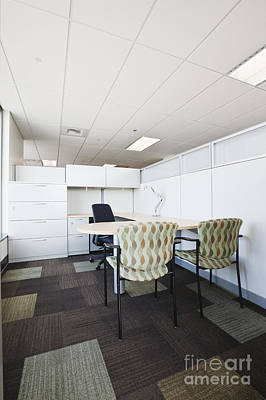 Not In Use Photograph - Chairs And Desk In Office Cubicle by Jetta Productions, Inc