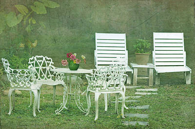 Chairs And Table Set In The Garden. Sun Art Print by Lawren Lu
