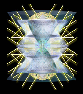 Art Print featuring the digital art Chalices From Pi Sphere Goldenray IIi by Christopher Pringer