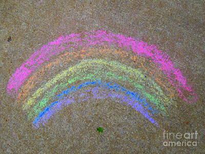 Art Print featuring the photograph Chalk Rainbow On Sidewalk by Renee Trenholm