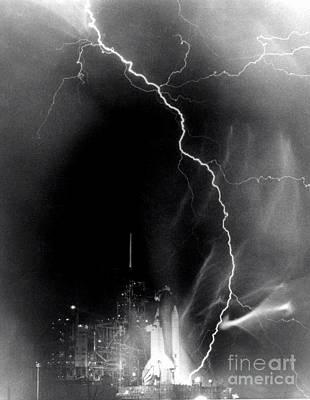 Challenger Struck By Lightning Art Print