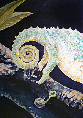 Lizards Painting - Chameleon Tail by Irina Sztukowski