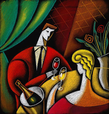 Women Together Painting - Champagne And Love by Leon Zernitsky