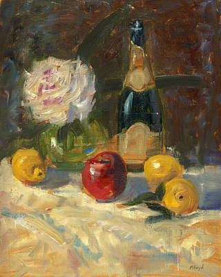 Art Print featuring the painting Champagne And Roses by Marlyn Boyd