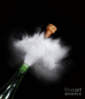 Champagne Cork Popping Art Print by Ted Kinsman