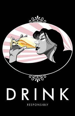 Wine Service Digital Art - Champagne Drinking Woman Propaganda Style by Jay Reed