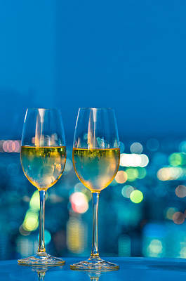 Champagne Glasses In Front Of A Window Art Print by Ulrich Schade