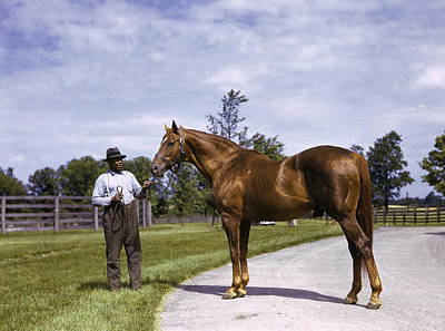 Thoroughbred Farm Photograph - Champion Horse Man-o-war Poses With One by B Anthony Stewart
