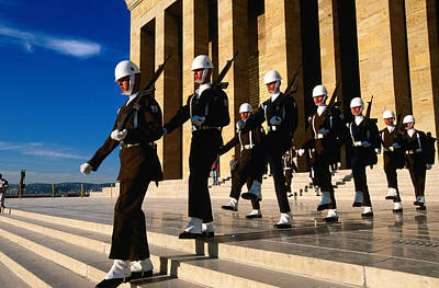 Changing Of The Guard Photograph - Changing Of Guard At Anit Kabir Mausoleum At Ataturk Monument, Ankara, Turkey, Middle East by John Elk III