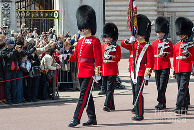 Changing Of The Guard At Buckingham Palace Print by Andrew  Michael
