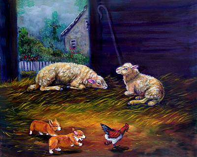 Chicken Portrait Wall Art - Painting - Chaos And Havoc In The Barn - Pembroke Welsh Corgi by Lyn Cook