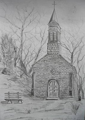 Drawing - Chapel In The Woods by Brian Hustead
