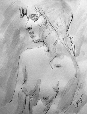 Crying Drawing - Charcoal Black White Nude Portrait Drawing Sketch Of Young Nude Woman Feeling Sensual Sexy Lonely by M Zimmerman