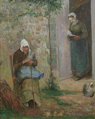 Caring Mother Painting - Charity by Camille Pissarro